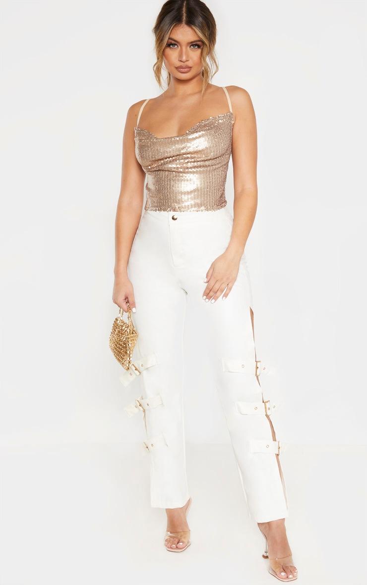 Gold Sequin Tie Back Crop Top  4