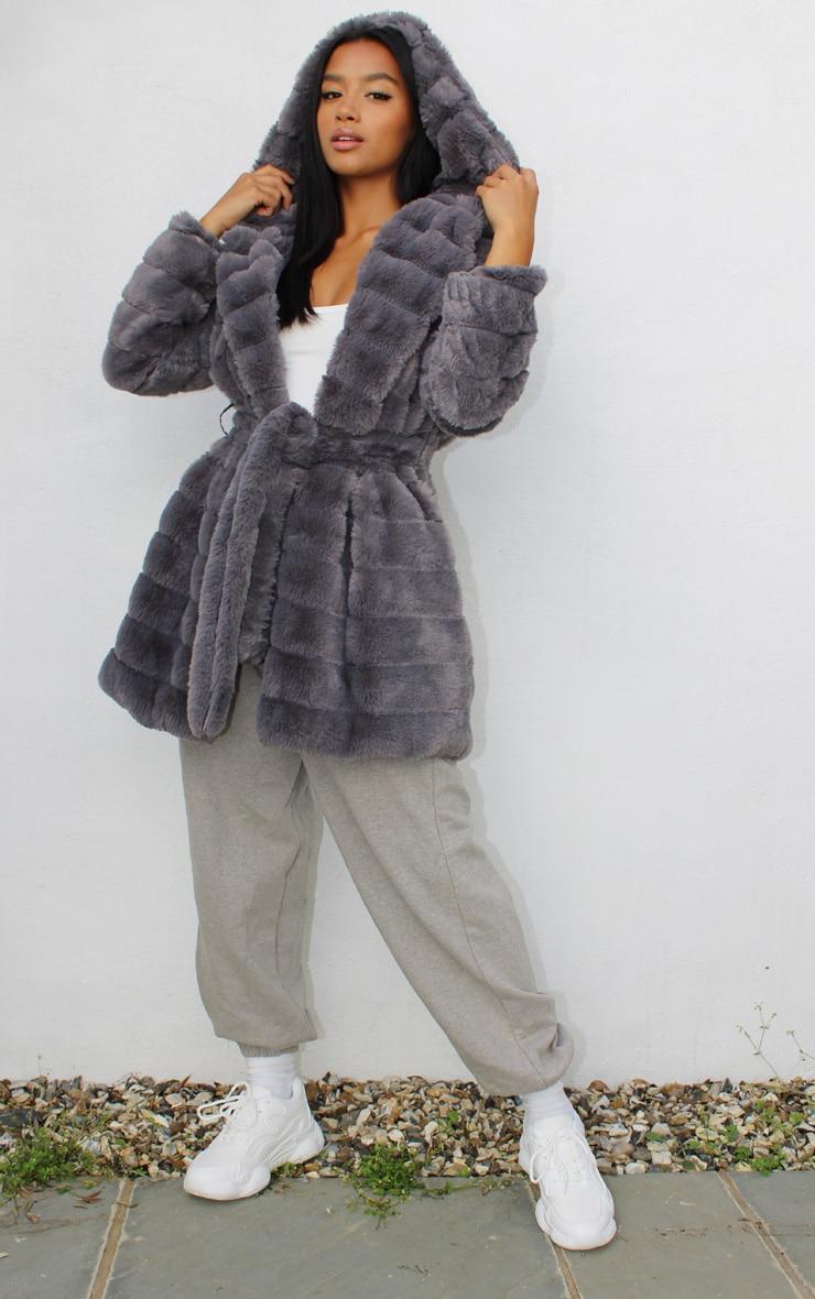 Petite Grey Bubble Fur Tie Front Coat 1