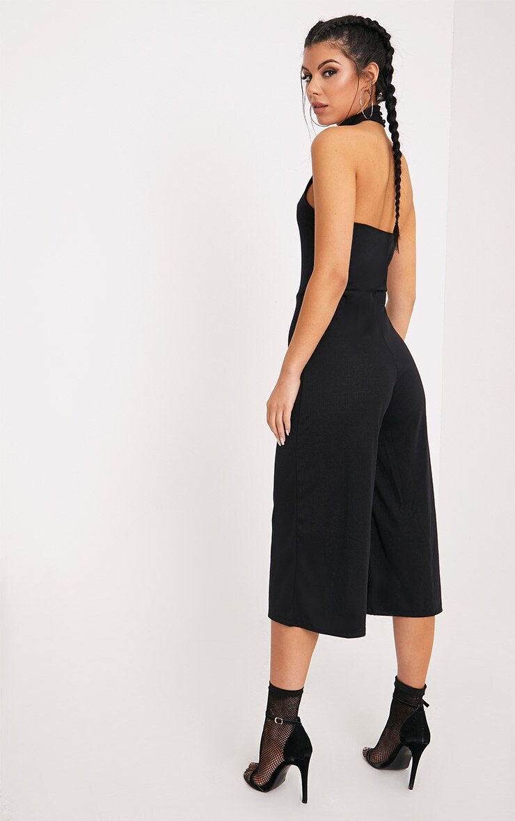 Marcie Black High Neck Low Back Culotte Jumpsuit 2