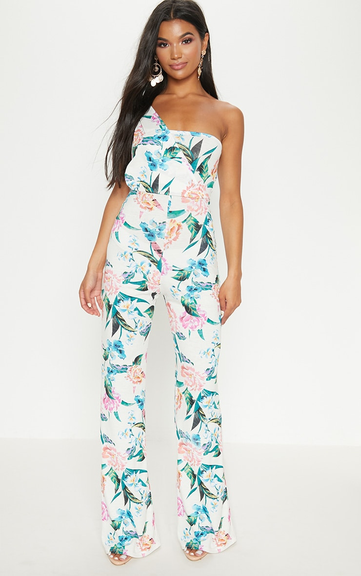 Cream Floral Jersey Drape One Shoulder Jumpsuit 1