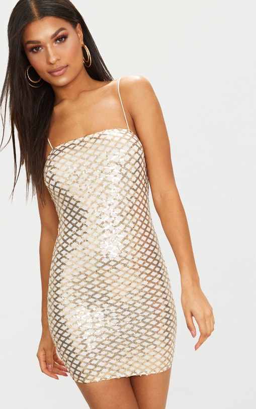 Gold Strappy Sequin Straight Neck Bodycon Dress 1