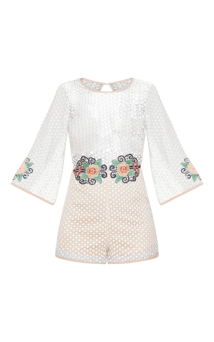 White Crochet Lace Embroidered Playsuit 3