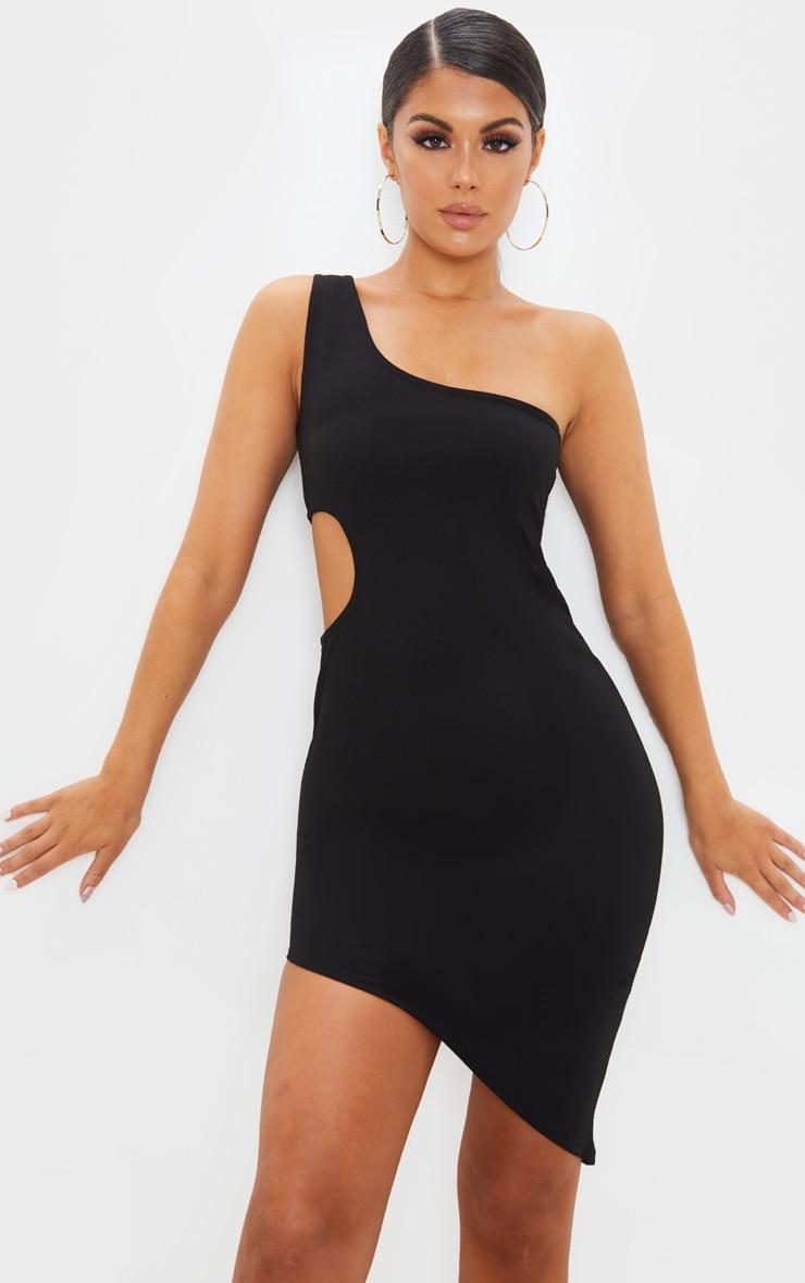 Black Sleeveless Cut Out Asymmetric Hem Midi Dress by Prettylittlething