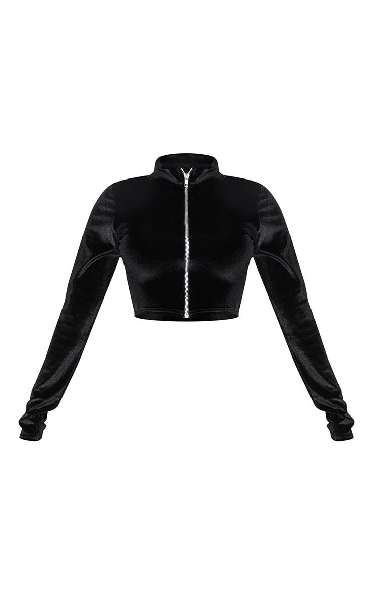 Shape Black Velvet Zip Front Crop Top 3