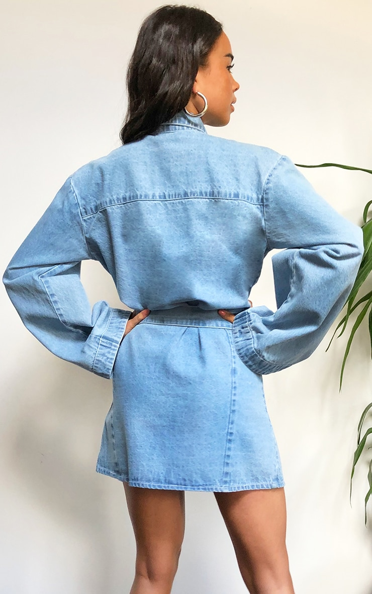 Light Blue Wash Bell Sleeved Tie Waist Denim Dress 2