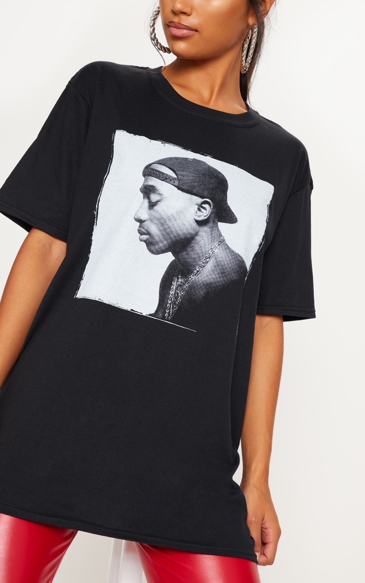 Black Tupac Chains Oversized T-Shirt 5