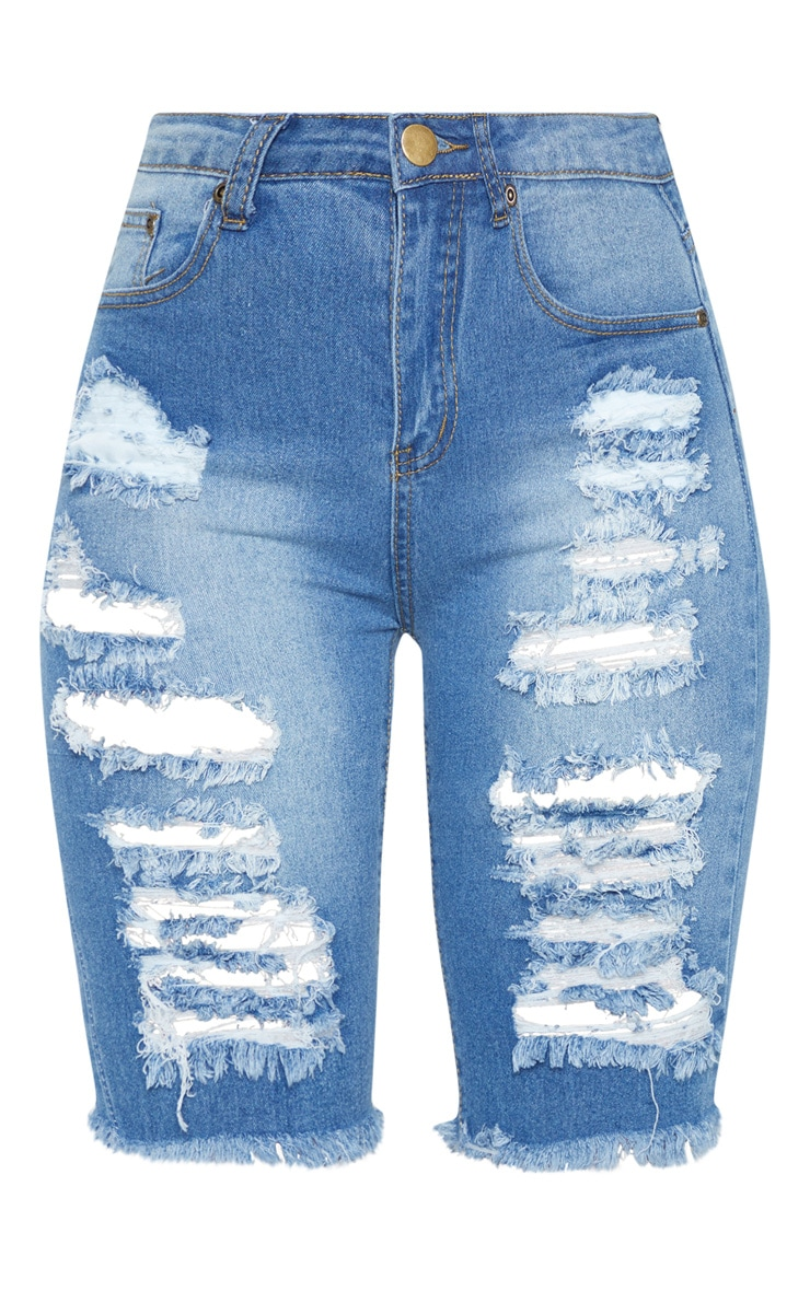 Keena Mid Wash Distressed Denim Cycling Shorts 3