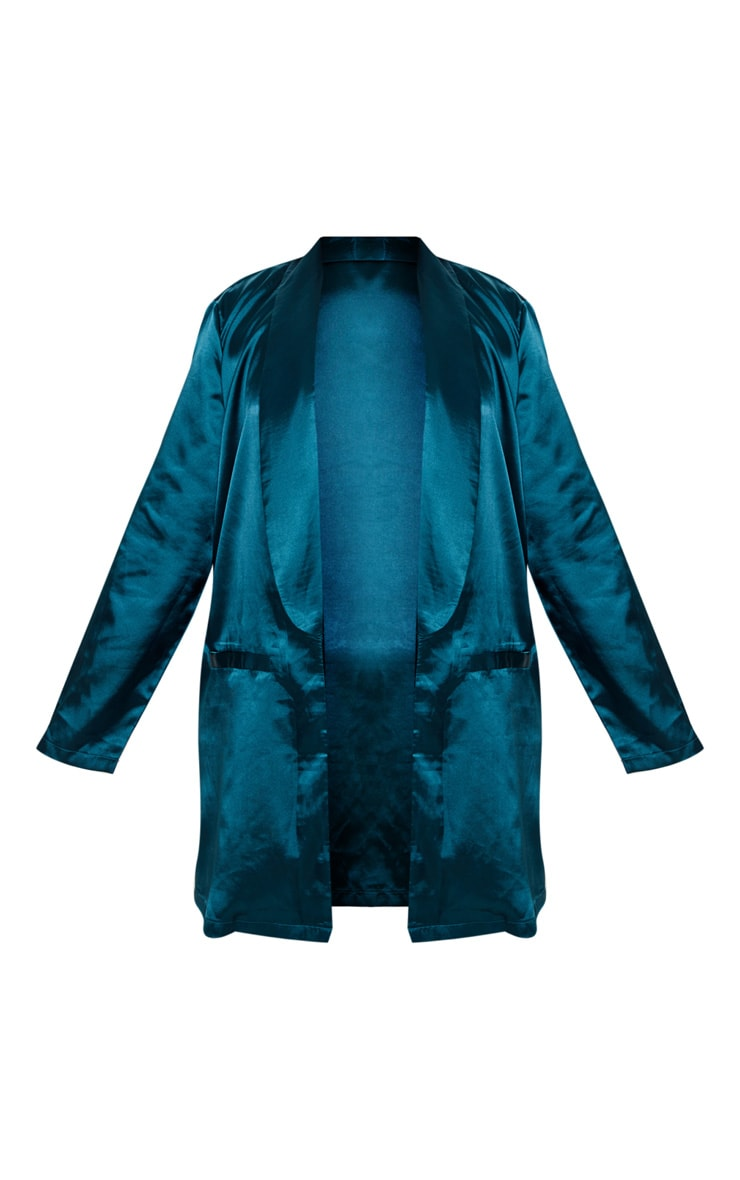Plus Teal Satin Longline Blazer 3