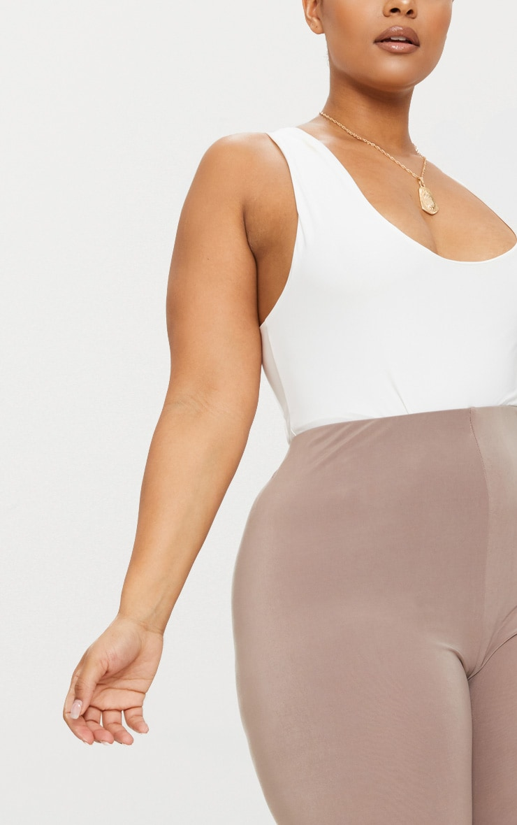 Plus Second Skin Taupe Slinky Cropped Leggings 5
