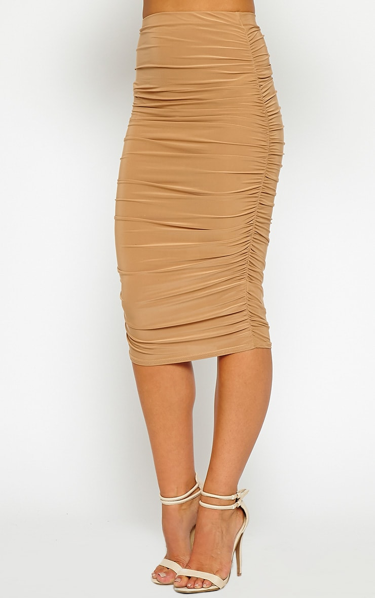 Saylor Camel Slinky Gathered Midi Skirt 4