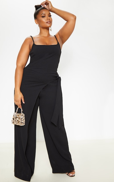 952b745d31327 Plus Black Strappy Wrap Detail Wide Leg Jumpsuit PrettyLittleThing Sticker