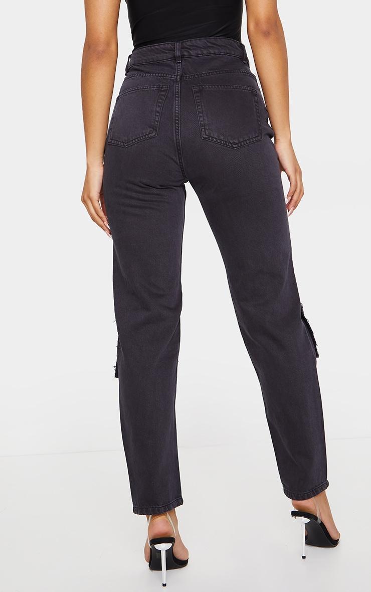 Washed Black Slit Knee Straight Leg Jeans 3