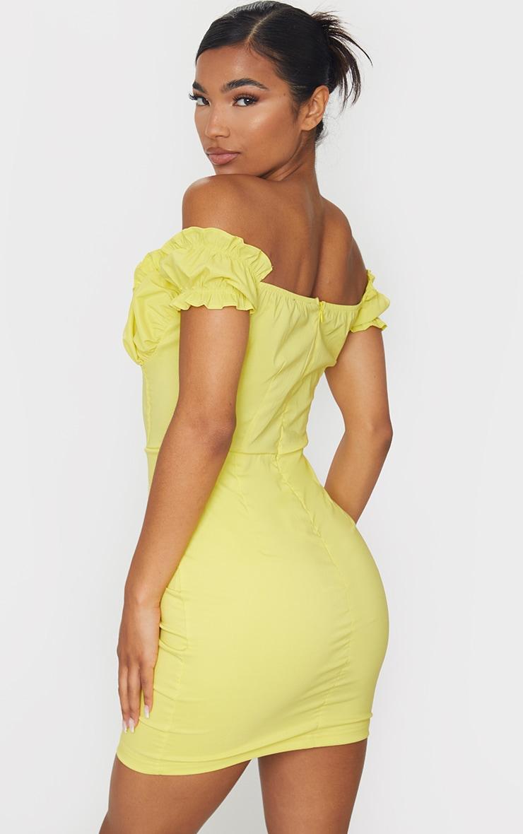 Lemon Bardot Frill Detail Bodycon Dress 2