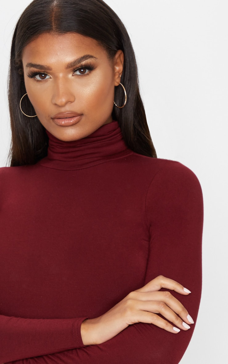 Basic Wine Long Sleeve Roll Neck Top 5