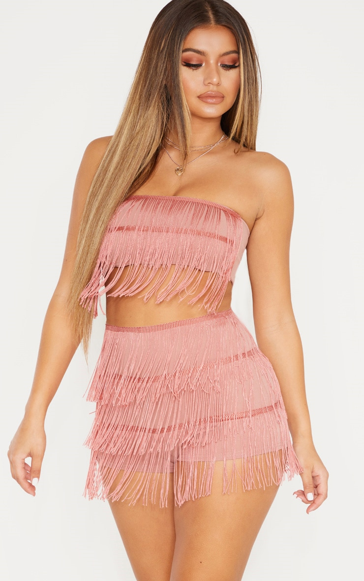 Dusty Pink Tiered Fringe Short 1