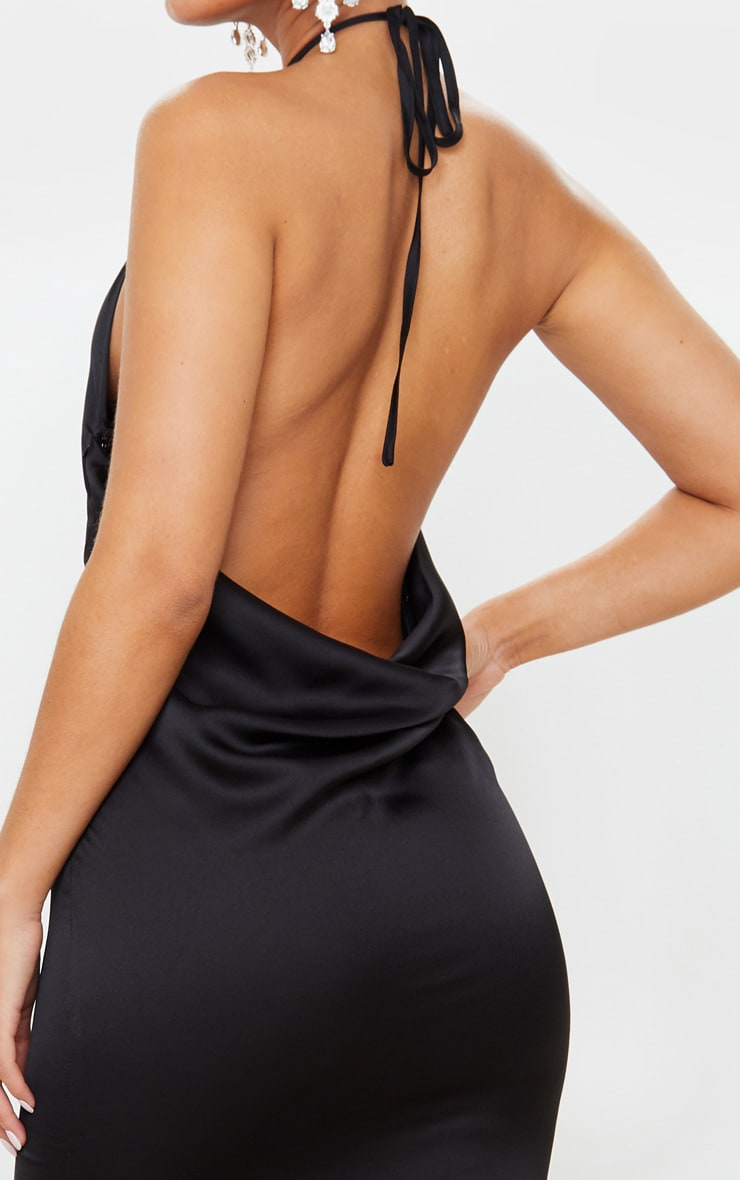 Black Cowl Back Halterneck Maxi Dress 5