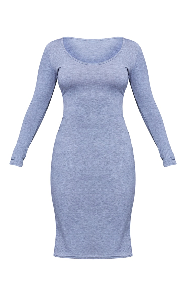 Petite Grey Marl Long Sleeve Jersey Midi Dress 6