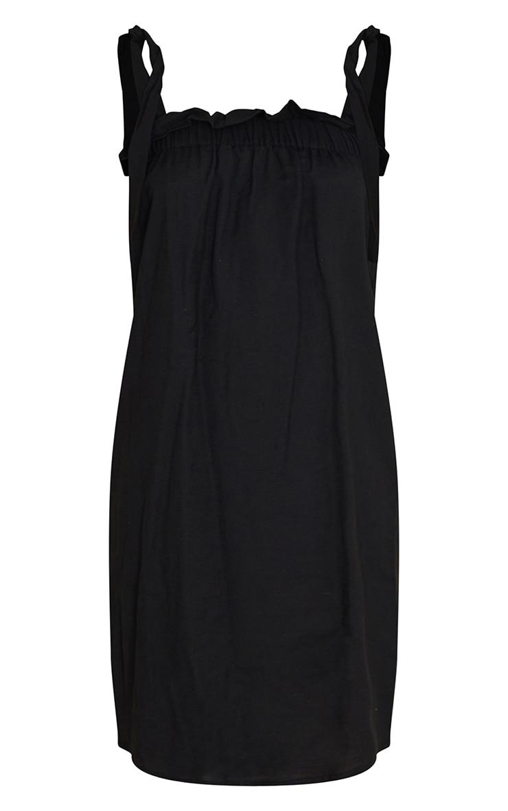 Black Linen Look Tie Strap Ruched Smock Midi Dress 5