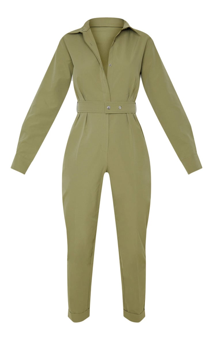 Khaki Tailored Long Sleeve Jumpsuit 3