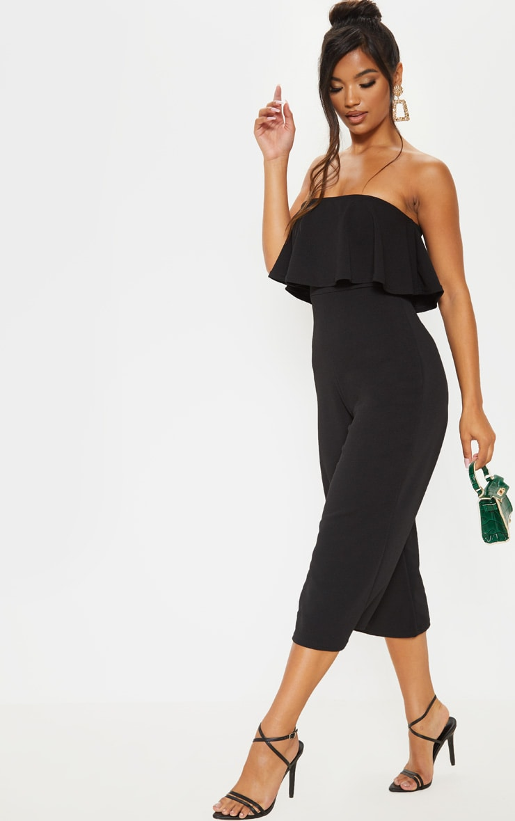 Black Bardot Double Layer Culotte Jumpsuit 1