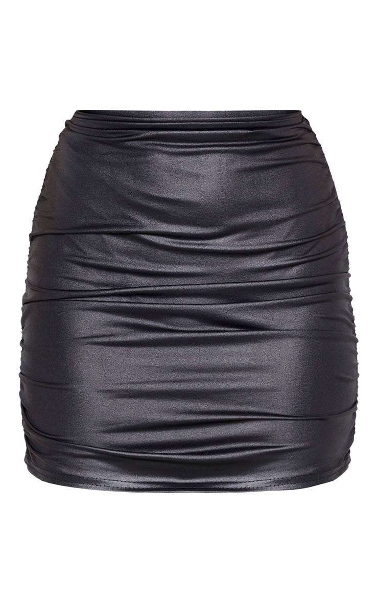 Petite Black Double Ruched Coated Mini Skirt 3
