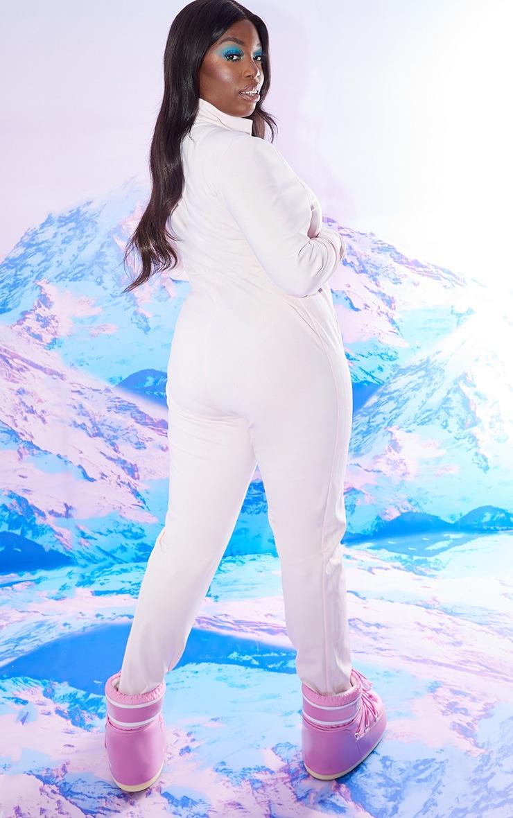 PRETTYLITTLETHING Plus Ski Pastel Pink Print Ski Suit 2