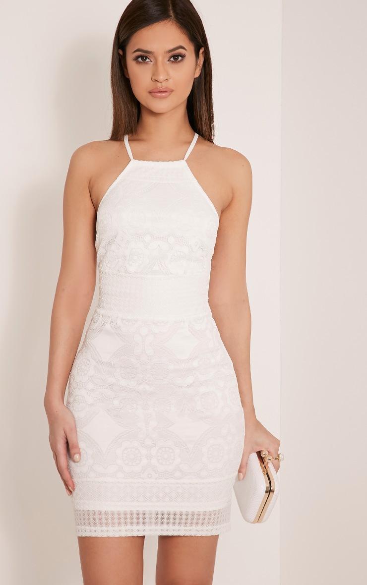 Georgia White Lace Cross Back Bodycon Dress 1