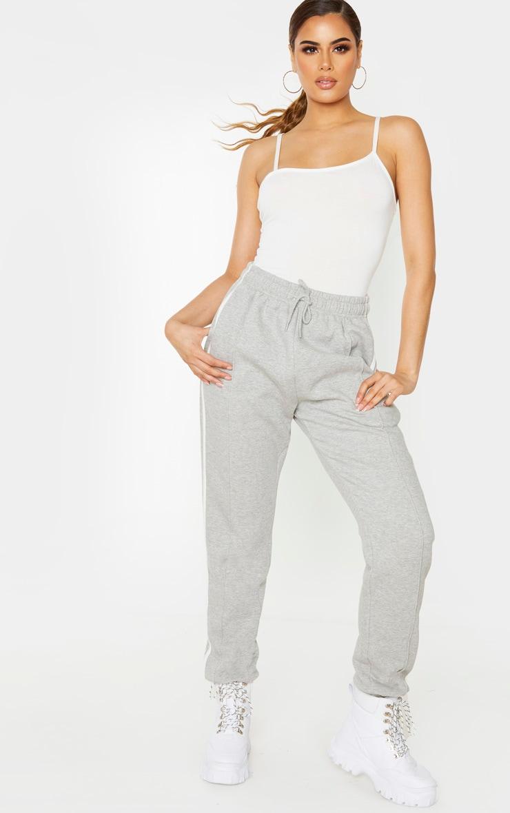 Tall Cream Asymmetric Strappy Bodysuit 1