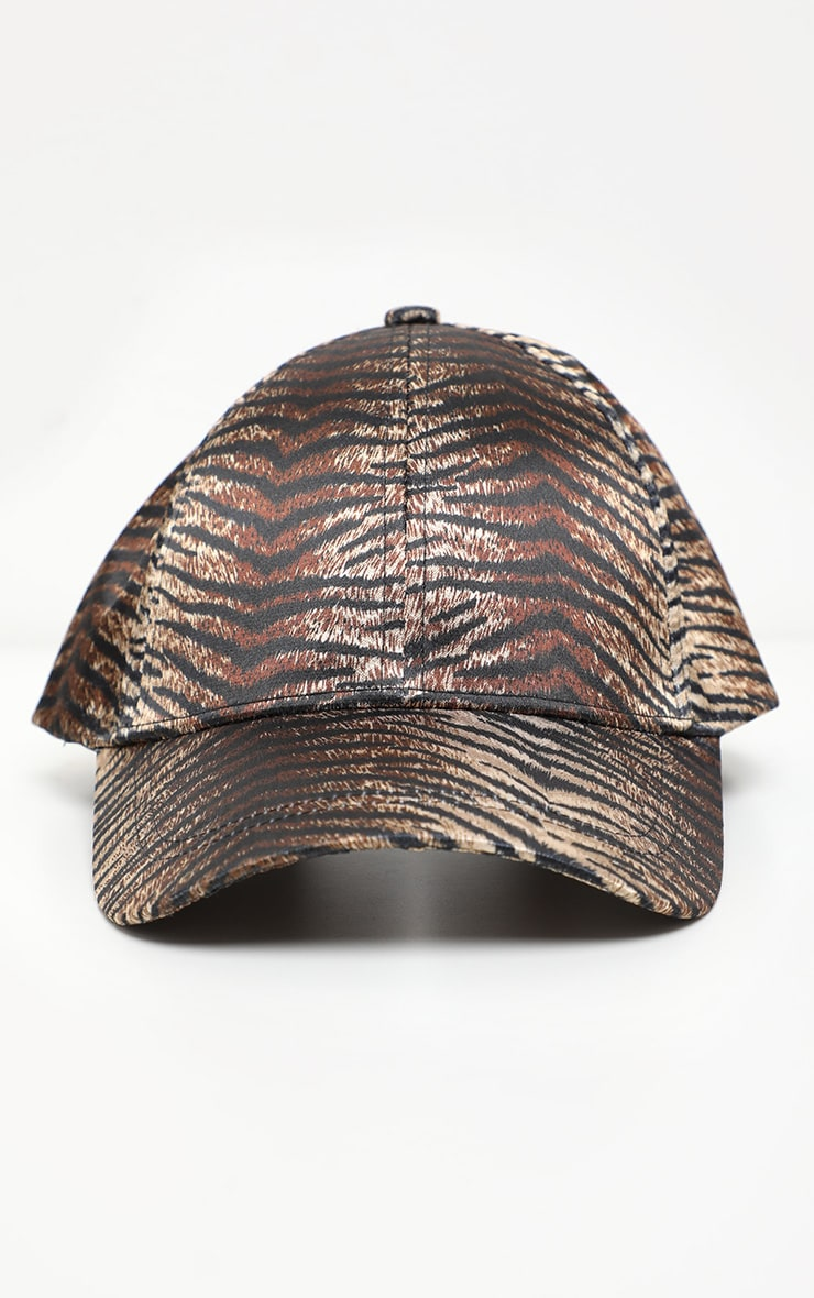 Brown Tiger Printed Satin Baseball Cap 2