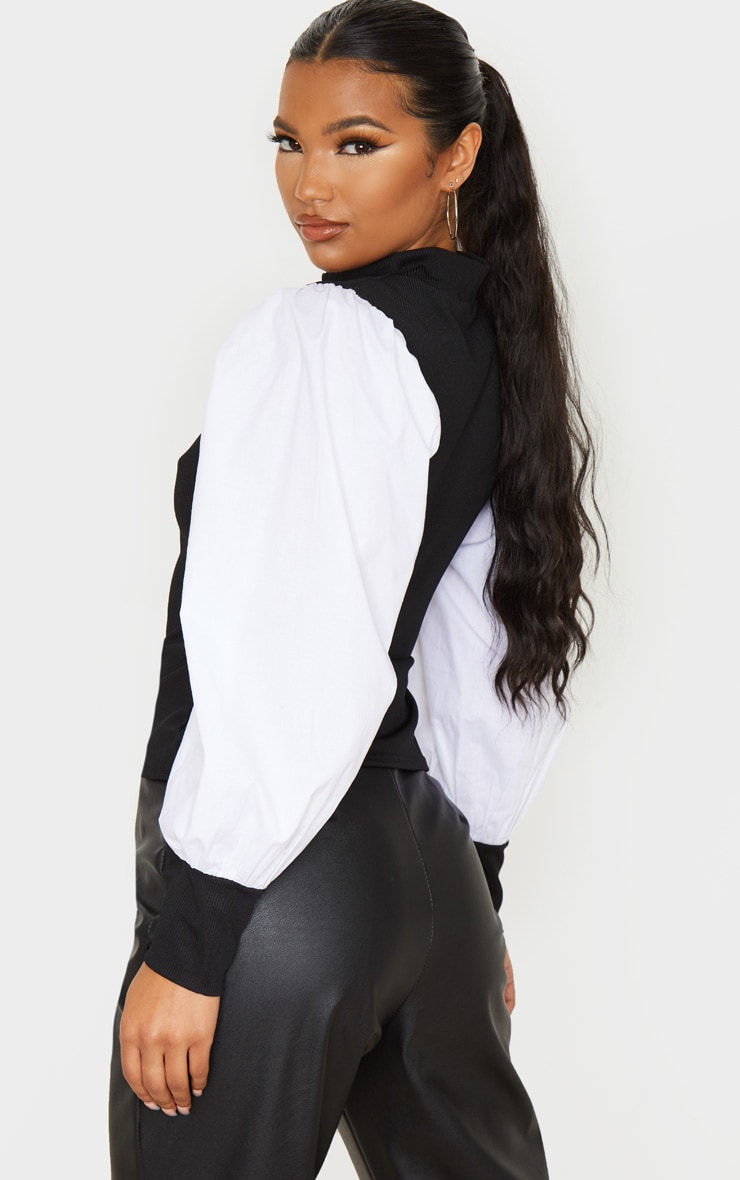Black Rib Roll Neck Woven Sleeve Top 2