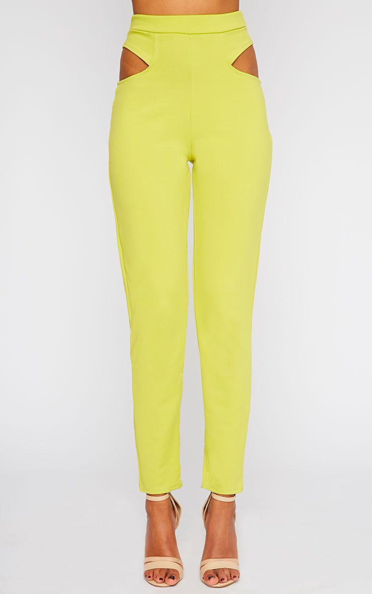 Zaylia Lime Cut Out Detail Trousers 3