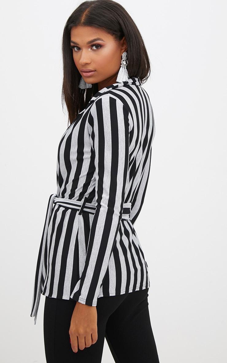 Silver Metallic Stripe Belted Blazer 2