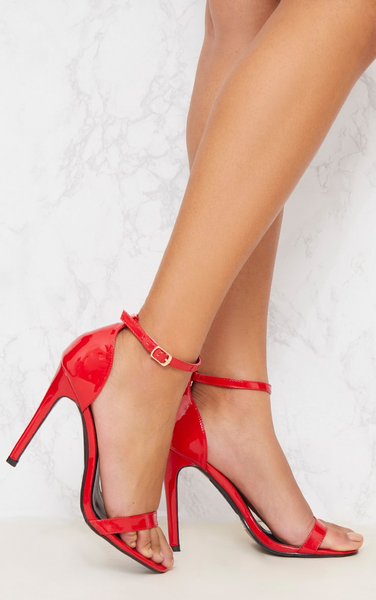 Red Patent Heeled Strappy Sandal
