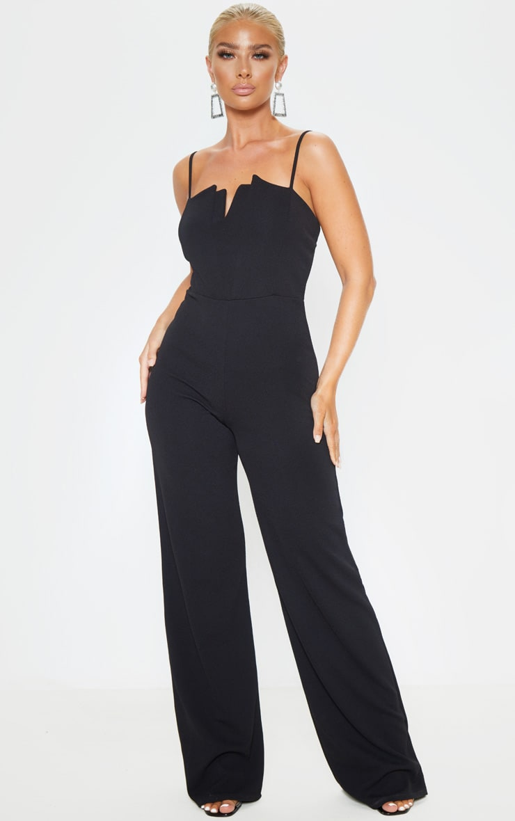 Black Strappy Pleated Plunge Jumpsuit 1