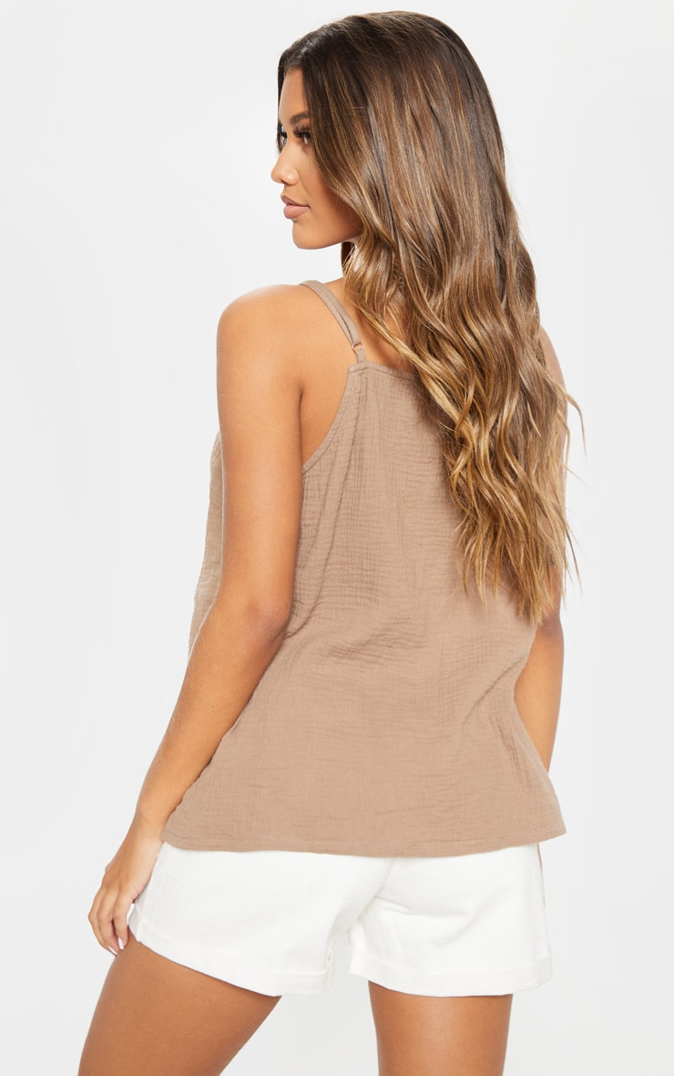 Taupe Linen Mix Button Front Oversized Cami Top 2