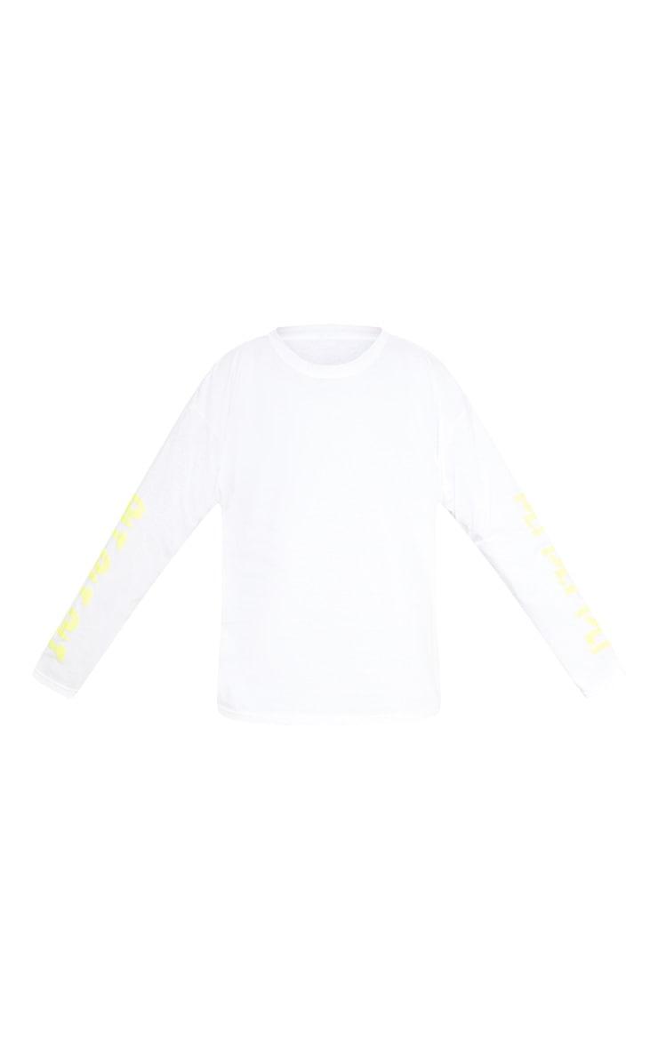 PRETTYLITTLETHING Plus White Printed Long Sleeve T Shirt 3