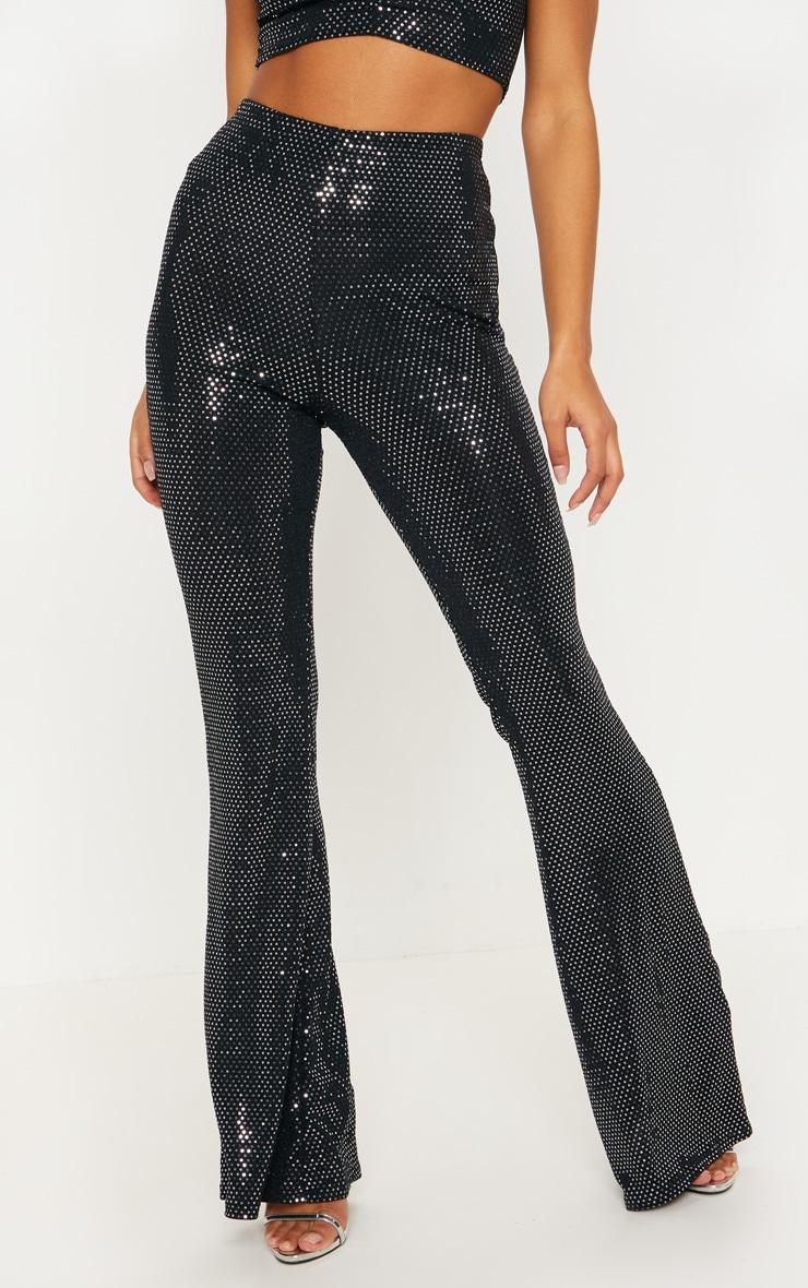 Pantalon à jambes évasées noir à sequins et paillettes 2
