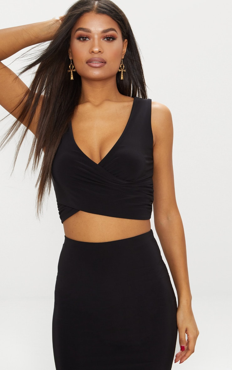 Black Slinky Wrap Plunge Crop Top  1