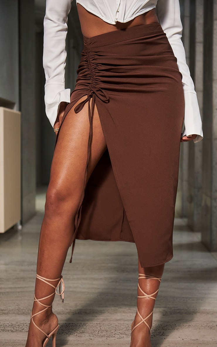 Chocolate Woven Ruched Detail Midi Skirt 2