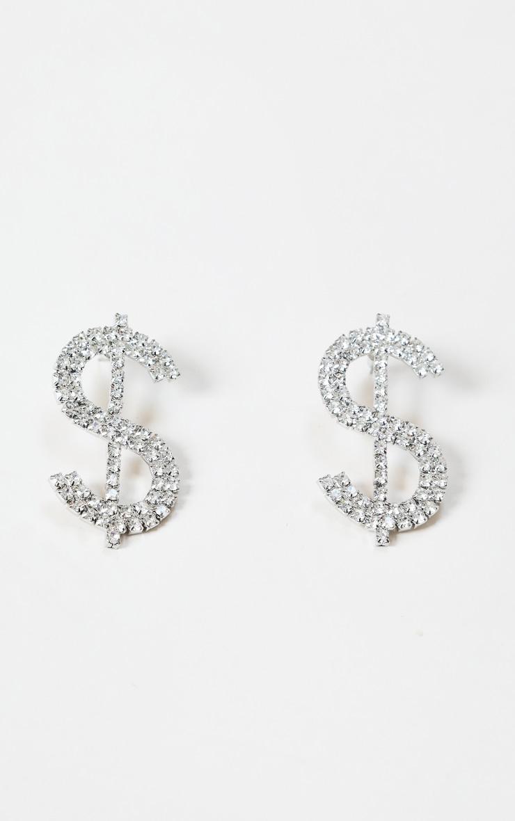 Silver Diamante Dollar Sign Large Stud Earrings 1
