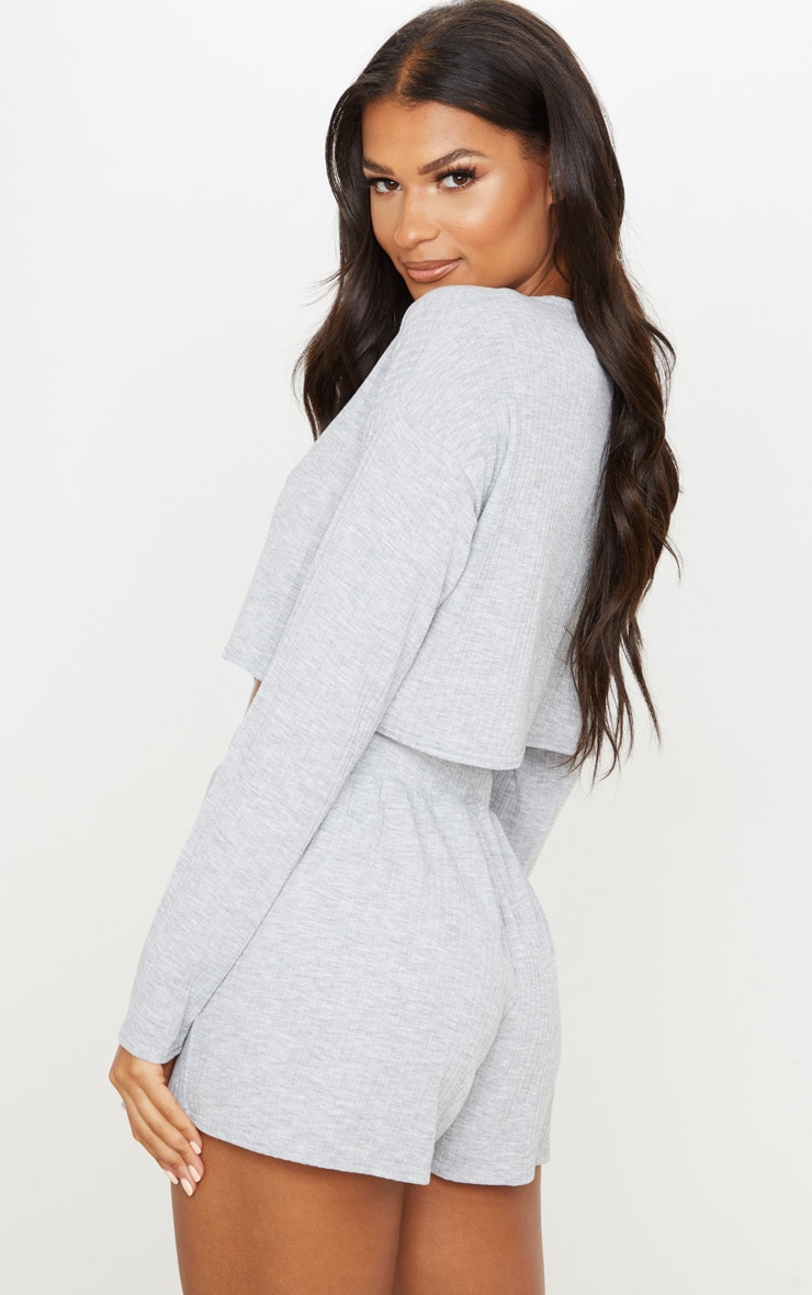 Grey Soft Rib Pyjama Short Set 2