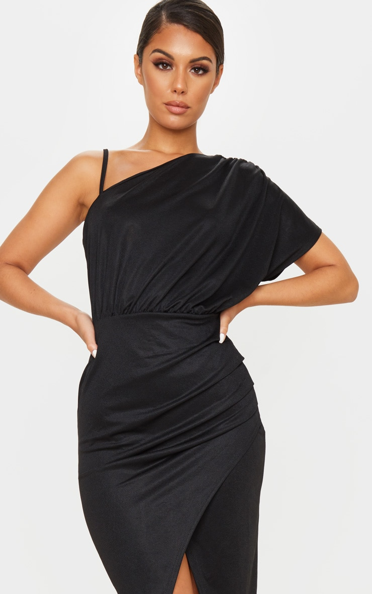 Black Drape Detail One Shoulder Midi Dress 5