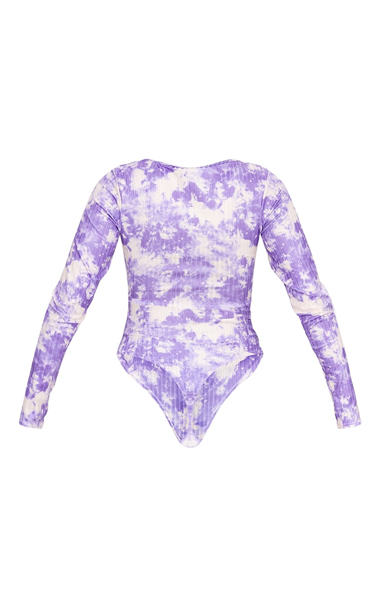 Lilac Acid Wash Long Sleeve Slinky Rib Bodysuit 6