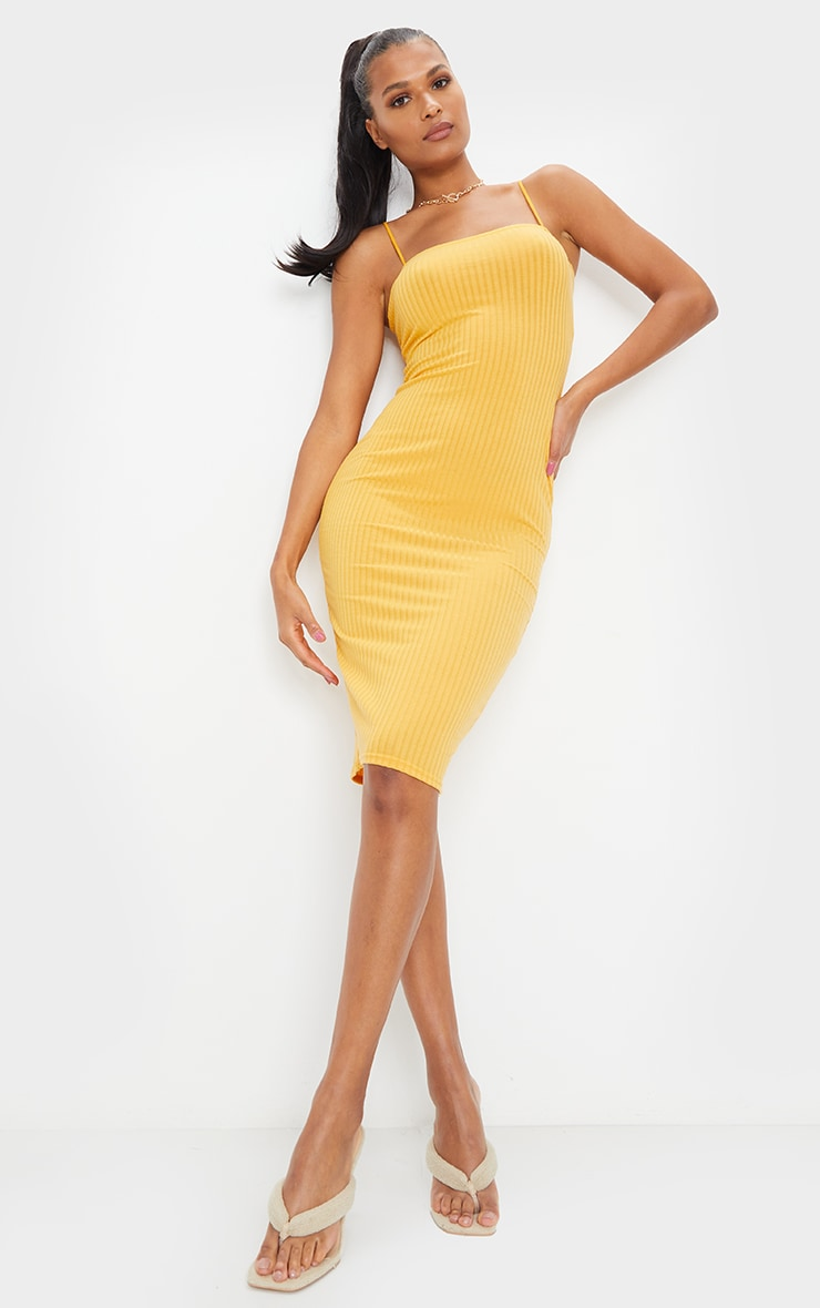 Mustard Ribbed Strappy Midi Dress 1