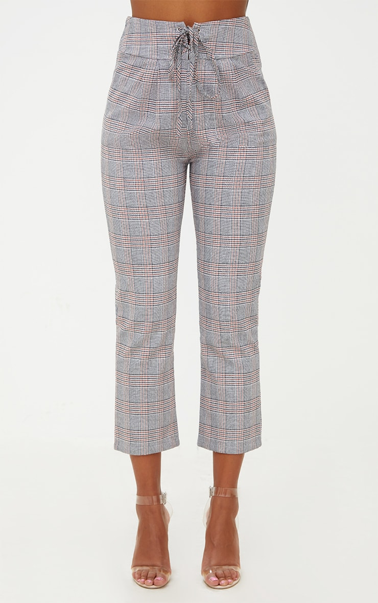 Grey Check Corset Waist Trousers 2