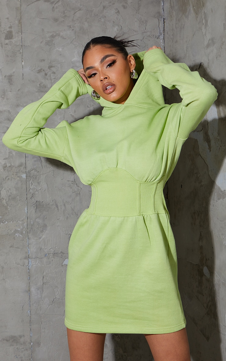 Washed Lime Ribbed Binding Waist Detail Hooded Jumper Dress 3