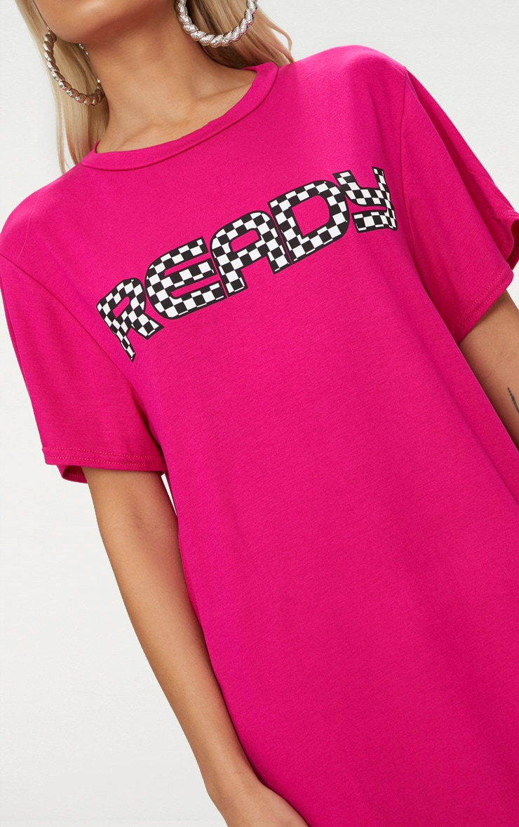 'Ready' Fuchsia T Shirt Dress 5