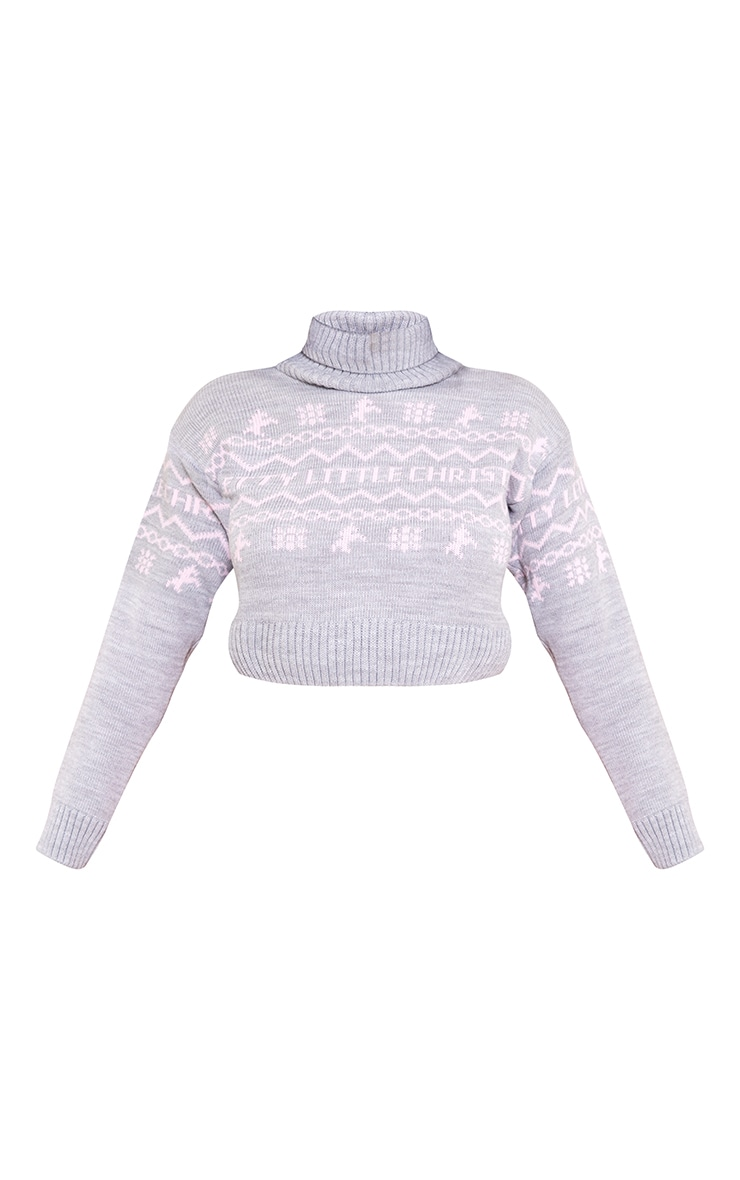 PRETTYLITTLETHING Grey Roll Neck Christmas Crop Jumper 5