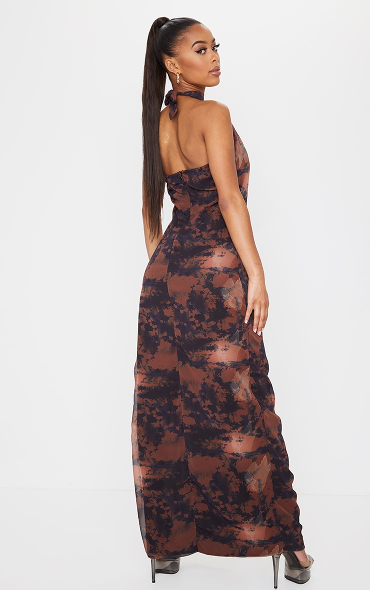 Brown Tie Dye Halterneck Chiffon Maxi Dress 2