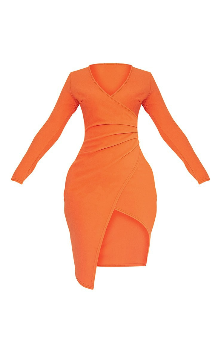 Rosie Orange Long Sleeve Wrap Front Midi Dress 4